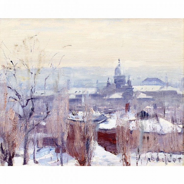 ROBERT WAKEHAM PILOT, P.R.C.A.WINTER, MONTREAL, oil on panel; signed Provenance: Walter Klinkhoff Gallery, Montreal.Masters Gallery Ltd., Calgary.Peter Ohler Fine Arts, Vancouver.Private Collection, Vancouver.Note: Painted circa 1936.