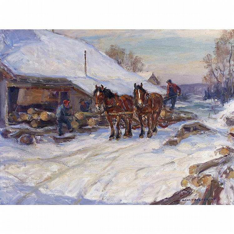 MANLY EDWARD MACDONALD, R.C.A.LOADING THE SLEIGH, oil on canvas; signed 24 ins x 32 ins; 60 cms x 80 cms