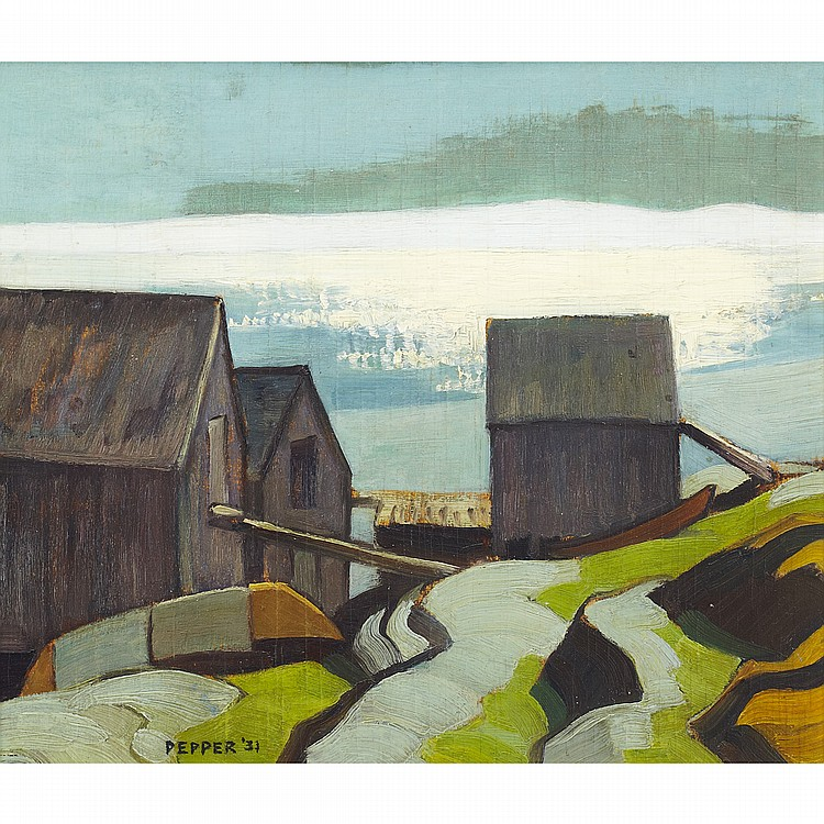 GEORGE DOUGLAS PEPPER, O.S.A., R.C.A.FISH HOUSES, BLUE ROCKS, oil on panel; signed and dated '31 12 ins x 14 ins; 30 cms x 35 cms