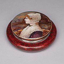 Limoges Enamel on Copper Powder Box by Pierre Bonnaud (1865-1930), c.1890, diameter 5
