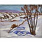 RANDOLPH STANLEY HEWTON, R.C.A., WINTER NEAR CHARLEVOIX, oil on panel, 8.5 ins x 10.5 ins; 21.3 cms x 26.3 cms
