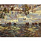 ALEXANDER YOUNG JACKSON, O.S.A., R.C.A., SNOW COVERED SHORELINE, 1914, oil on panel, 8.5 ins x 10.5 ins; 21.3 cms x 26.3 cms