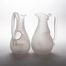 Pair of Victorian Overshot Glass Water Jugs, late 19th century, height 10.9