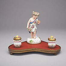 German Porcelain Mounted Inkstand, late 19th century, width 10