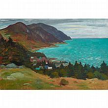 JEAN-PAUL LEMIEUX, R.C.A., VILLAGE LE LONG DU ST-LAURENT, oil on masonite, 24 ins x 36 ins; 61 cms x 91.4 cms