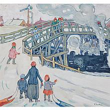 ETHEL SEATH, WINTER, WATCHING THE TRAIN, gouache, 12.25 ins x 13.5 ins; 31.1 cms x 34.3 cms