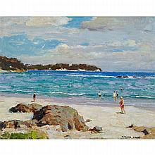 RICHARD JACK, R.C.A., UNTITLED - BATHERS ALONG A SANDY BEACH, oil on board, 16 ins x 20 ins; 40.6 cms x 50.8 cms