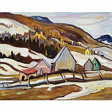 RALPH WALLACE BURTON, LAURENTIANS, ST. SAUVEUR, 1955, oil on canvas, 16.25 ins x 20 ins; 41.3 cms x 50.8 cms