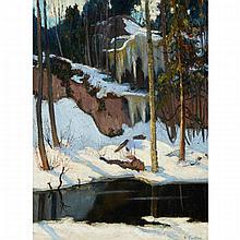 MAURICE GALBRAITH CULLEN, R.C.A., THE DEEP POOL, 1926, oil on canvas, laid down on board, 24.25 ins x 18.25 ins; 61.6 cms x 46.4 cms