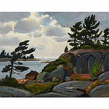 FRANK SHIRLEY PANABAKER, A.R.C.A., EVENING LIGHT, GEORGIAN BAY, oil on board, 16 ins x 20 ins; 40.6 cms x 50.8 cms