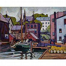 PETER CLAPHAM SHEPPARD, O.S.A., R.C.A., THE DOCKS, oil on canvas, 17 ins x 21 ins; 43.2 cms x 53.3 cms