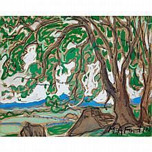 MARC-AURÈLE FORTIN, A.R.C.A., LANDSCAPE WITH ELM TREE, gouache on paper, 8 ins x 10 ins; 20.3 cms x 25.4 cms
