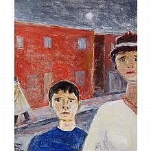 JEAN-PAUL LEMIEUX, R.C.A., SOUVENIRS - LA DAME AU COLLIER ET LE JEUNE GARÇON EN VILLE, oil on canvas, 24 ins x 20 ins; 61 cms x 50.8 cms