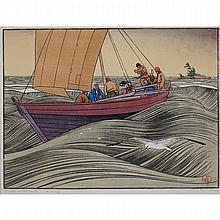WALTER JOSEPH PHILLIPS, R.C.A., YORK BOAT ON LAKE WINNIPEG, 1930, woodcut, Sheet 11.5 ins x 15.25 ins; 26 cms x 34.9 cms