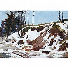 FRANKLIN CARMICHAEL, O.S.A., R.C.A., SNOWY HILLSIDE, oil on panel, 6 ins x 8.25 ins; 15.2 cms x 21 cms