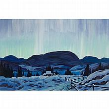GRAHAM NOBLE NORWELL, O.S.A., NORTHERN LIGHTS (CHALET AT DUSK, WINTER), oil on canvas, 24 ins x 36 ins; 61 cms x 91.4 cms
