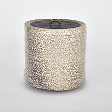 ROBERT ARCHAMBEAU (1933 - ), COVERED JAR WITH BRONZE LID, height 9.25