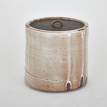 ROBERT ARCHAMBEAU, COVERED JAR WITH BRONZE LID, height 8