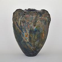 JOHN PICKERING, BLUE AND RED VASE, height 22