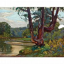 HERBERT SIDNEY PALMER, O.S.A., R.C.A., ON THE HUMBER RIVER, oil on panel, 10.25 ins x 13 ins; 26 cms x 33 cms