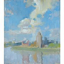 LIONEL LEMOINE FITZGERALD, GRAIN SILOS, SASKATCHEWAN, oil on canvas, laid down on board, 12 ins x 11 ins; 30.5 cms x 27.9 cms