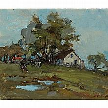 BERTHE DES CLAYES, FARM, EASTERN TOWNSHIPS, oil on canvas, laid down on board, 7.25 ins x 8.5 ins; 20.3 cms x 22.9 cms