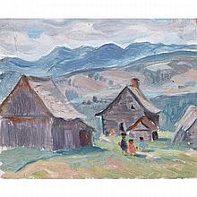 JOSEPH JEAN ALBERT PALARDY, LA DÉCHARGE, JUILLET '37, oil on illustration board, 3.5 ins x 4.24 ins; 8.9 cms x 10.8 cms