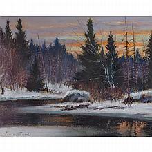 THOMAS HILTON GARSIDE, A.R.C.A., RIVIÈRE EN HIVER, pastel, 8 ins x 10 ins; 20.3 cms x 25.4 cms