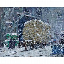 PETER CLAPHAM SHEPPARD, O.S.A., R.C.A., DELIVERING HAY TO MARKET - (THE UNEXPECTED STORM), oil on canvas, 24.25 ins x 30.25 ins; 61.6 cms x 76.8 cms