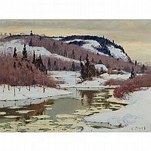 ROBERT WAKEHAM PILOT, P.R.C.A., SNOWY LANDSCAPE, oil on canvas, 21 ins x 28 ins; 55.9 cms x 71.1 cms