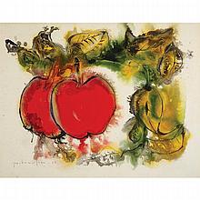 PAUL VANIER BEAULIEU, R.C.A., NATURE MORTE AUX FRUITS, watercolour on illustration board, 19.5 ins x 25 ins; 49.5 cms x 63.5 cms