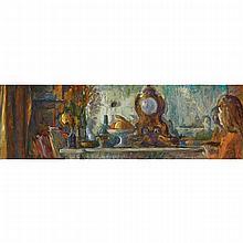 JOSEPH FRANCIS PLASKETT, R.C.A., THE MANTELPIECE WITH FIGURES, oil on masonite, 15.75 ins x 49.5 ins; 40 cms x 125.7 cms