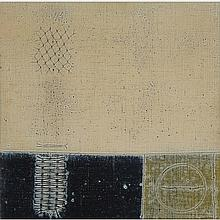 JACQUES GODEFROY DE TONNANCOUR, A.R.C.A., LE MILLE PATTES, 1964, mixed media on canvas, laid down on board, 12 ins x 12 ins; 30.5 cms x 30.5 cms