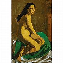 WILLIAM GOODRIDGE ROBERTS, R.C.A, SEATED NUDE, oil on canvas, 43.25 ins x 27.75 ins; 70.5 cms x 109.9 cms