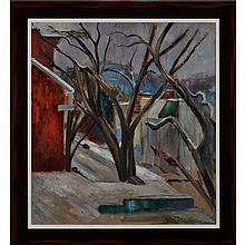 LOUIS MUHLSTOCK, R.C.A., WINTER AFTERNOON, oil on canvas, 33 ins x 30 ins; 83.8 cms x 76.2 cms