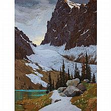HORACE CHAMPAGNE, SNOW PATCHES & SPRING FLOWERS, LAKE O'HARA, YOHO NAT. PK., B.C., colour pastel, 40 ins x 30 ins; 101.6 cms x 76.2 cms