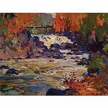 JOHN WILLIAM BEATTY, O.S.A., R.C.A., BROOKS FALLS, MAGNETAWAN RIVER, oil on panel, 10.5 ins x 13.75 ins; 26.7 cms x 34.9 cms