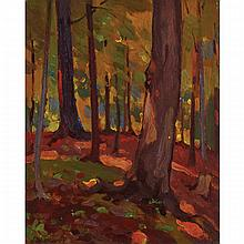 JOHN WILLIAM BEATTY, O.S.A., R.C.A., WOODLAND INTERIOR, oil on panel, 10.5 ins x 8.5 ins; 26.7 cms x 21.6 cms
