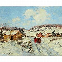BERTHE DES CLAYES, HORSE AND SLEIGH ON WINTER ROAD, oil on canvas, 16 ins x 20.25 ins; 40.6 cms x 51.4 cms