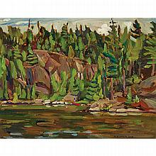 ALEXANDER YOUNG JACKSON, O.S.A., R.C.A., ALGOMA LAKE, AUGUST 1955, oil on panel, 10.5 ins x 13.5 ins; 26.7 cms x 34.3 cms