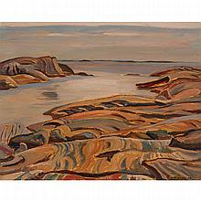 ALEXANDER YOUNG JACKSON, O.S.A., R.C.A., GEORGIAN BAY, oil on divided panel, 10.5 ins x 13.5 ins; 26.7 cms x 34.3 cms