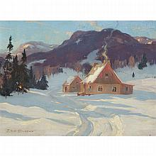 ERIC RIORDON, A.R.C.A., MARCH AFTERNOON: LAURENTIANS, oil on canvas, 12 ins x 16 ins; 30.5 cms x 40.6 cms