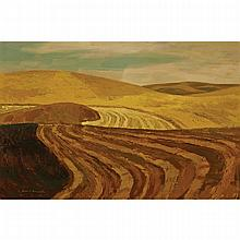 ALAN CASWELL COLLIER, O.S.A., R.C.A., PATTERN OF A HARVEST LAND, oil on canvas, 20 ins x 30 ins; 50.8 cms x 76.2 cms