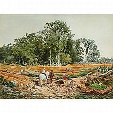 DANIEL FOWLER, O.S.A., R.C.A., RURAL LANDSCAPE WITH WAYFARERS AND HORSE, watercolour, laid down on illustration board, 22 ins x 28 ins; 50.8 cms x 68.6 cms