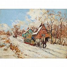 BERTHE DES CLAYES, HAULING LOGS IN WINTER, oil on panel, 10.5 ins x 13.75 ins; 26.7 cms x 34.9 cms