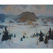 ERIC RIORDON, A.R.C.A., NEW YEAR'S EVE, MT. ST. SAUVEUR, oil on canvas, 20 ins x 24 ins; 50.8 cms x 61 cms
