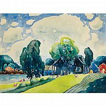 MARC-AURÈLE FORTIN, A.R.C.A., LA CUEILLETTE, watercolour, laid down on card, 18.5 ins x 24 ins; 47 cms x 61 cms