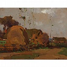 JOHN WILLIAM BEATTY, O.S.A., R.C.A., UNTITLED - HARVEST TIME, oil on panel, 10.5 ins x 13.75 ins; 26.7 cms x 34.9 cms