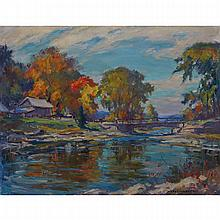 MANLY EDWARD MACDONALD, R.C.A., HOUSE ON THE NAPANEE RIVER, oil on canvas, 28 ins x 36 ins; 50.8 cms x 61 cms