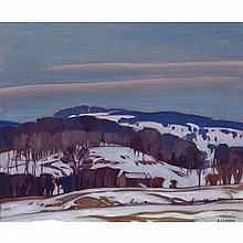 ALFRED JOSEPH CASSON, O.S.A., P.R.C.A., SNOWY LANDSCAPE, oil on board, 9.5 ins x 11.5 ins; 24.1 cms x 29.2 cms